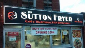 The Sutton Fryer shop sign