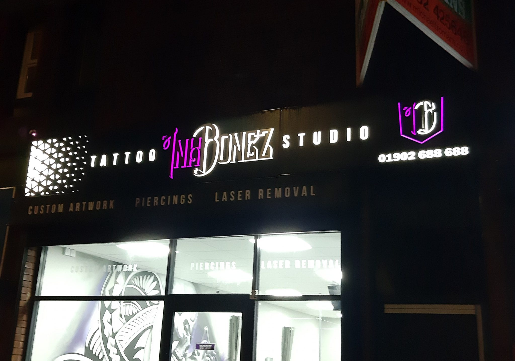 Ink Bonez Studio shop sign